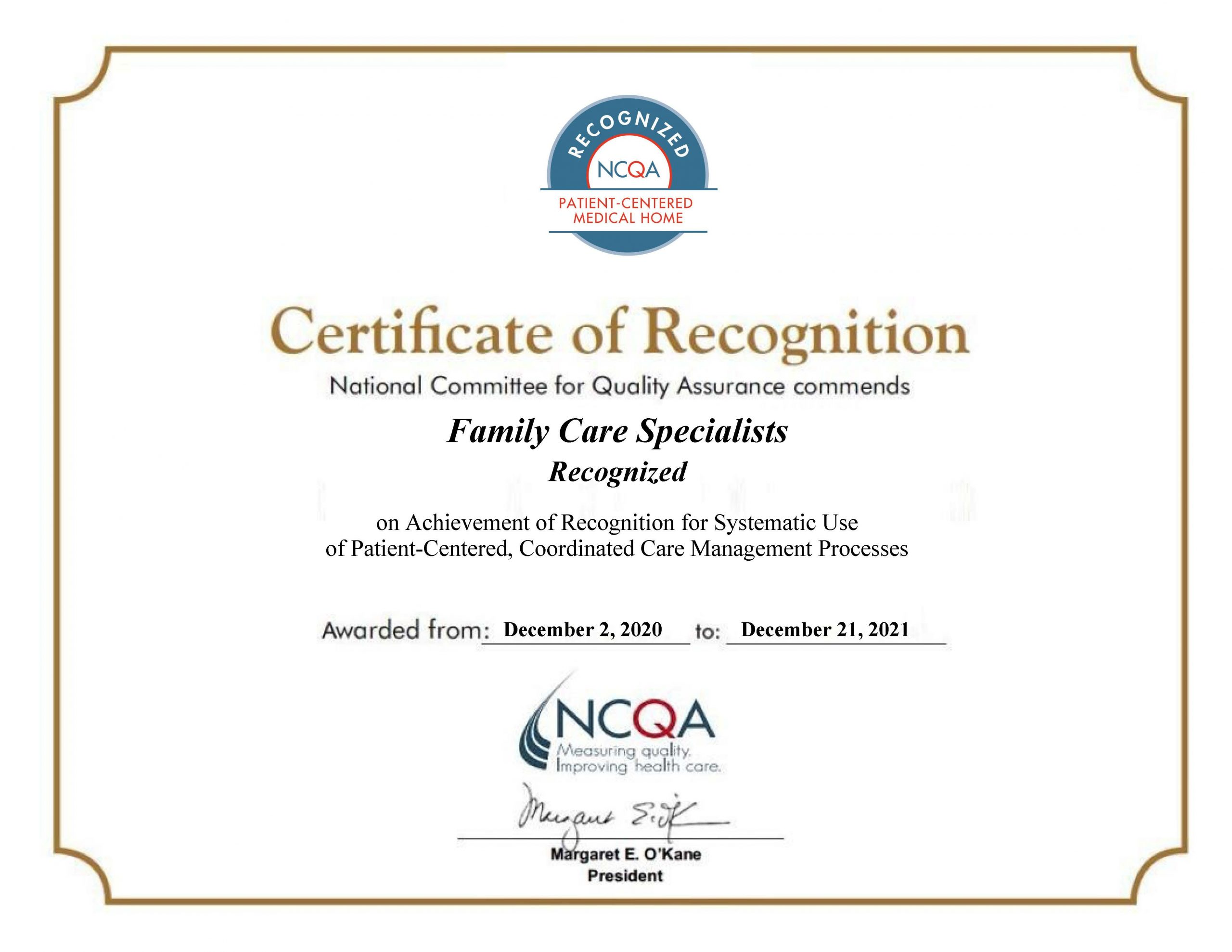 FamilyCare Specialists Recognized as a PCMH